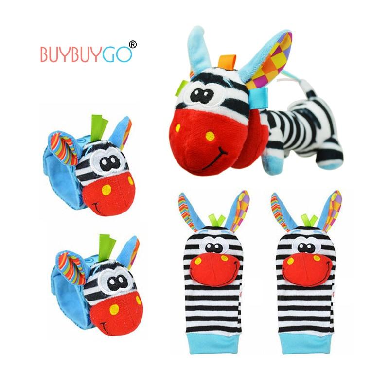 5 PÇS/LOTE Zebra Dos Desenhos Animados Do Bebê Meias & Mão Sinos De Pulso & Plush Agitação da mão de Bell De Natal De Algodão Meias Da Menina do Menino Infantil Chocalhos Brinquedos