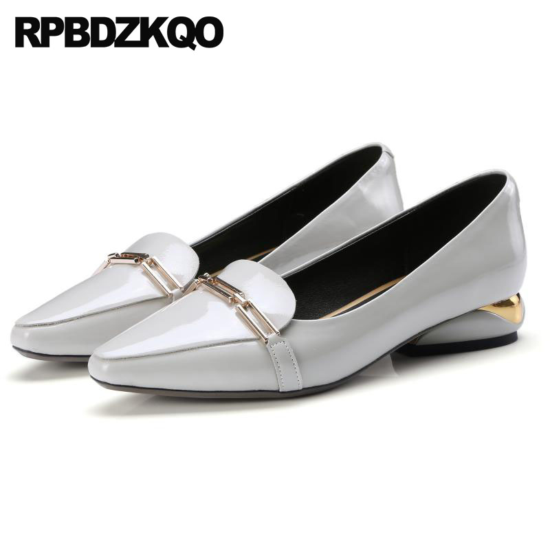 Block Plus Size Genuine Leather Fashion Runway Patent Pointed Toe Women Grey Shoes Luxury Low Heels White 4 34 2018 10 42 Metal цена 2017