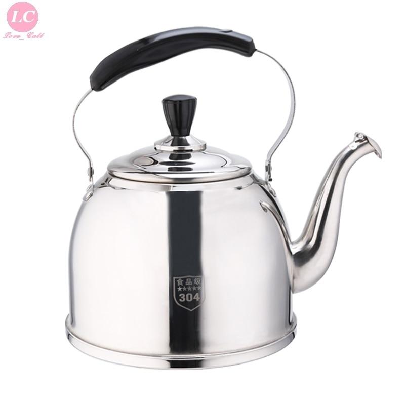 Воды кеттер Чай горшок утолщенной SUS #18/10 нержавеющей Сталь сжигание горшок чайник 3/4/5/6 литр