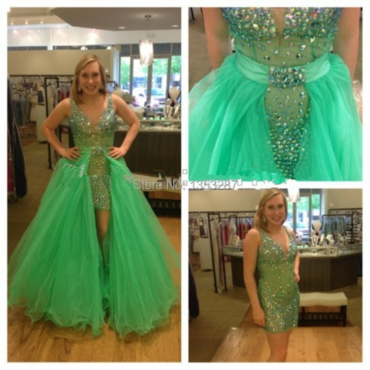 68e29f90e1a emerald green prom dress with detachable skirt custom made organza and  satin v neck crystal and rhinestone evening party gown