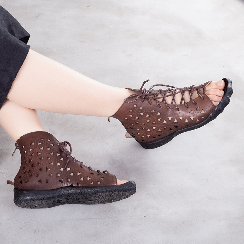 2019 gladiator sandals women genuine leather summer cold boots woman retro flat sandals lace up casual shoes2019 gladiator sandals women genuine leather summer cold boots woman retro flat sandals lace up casual shoes