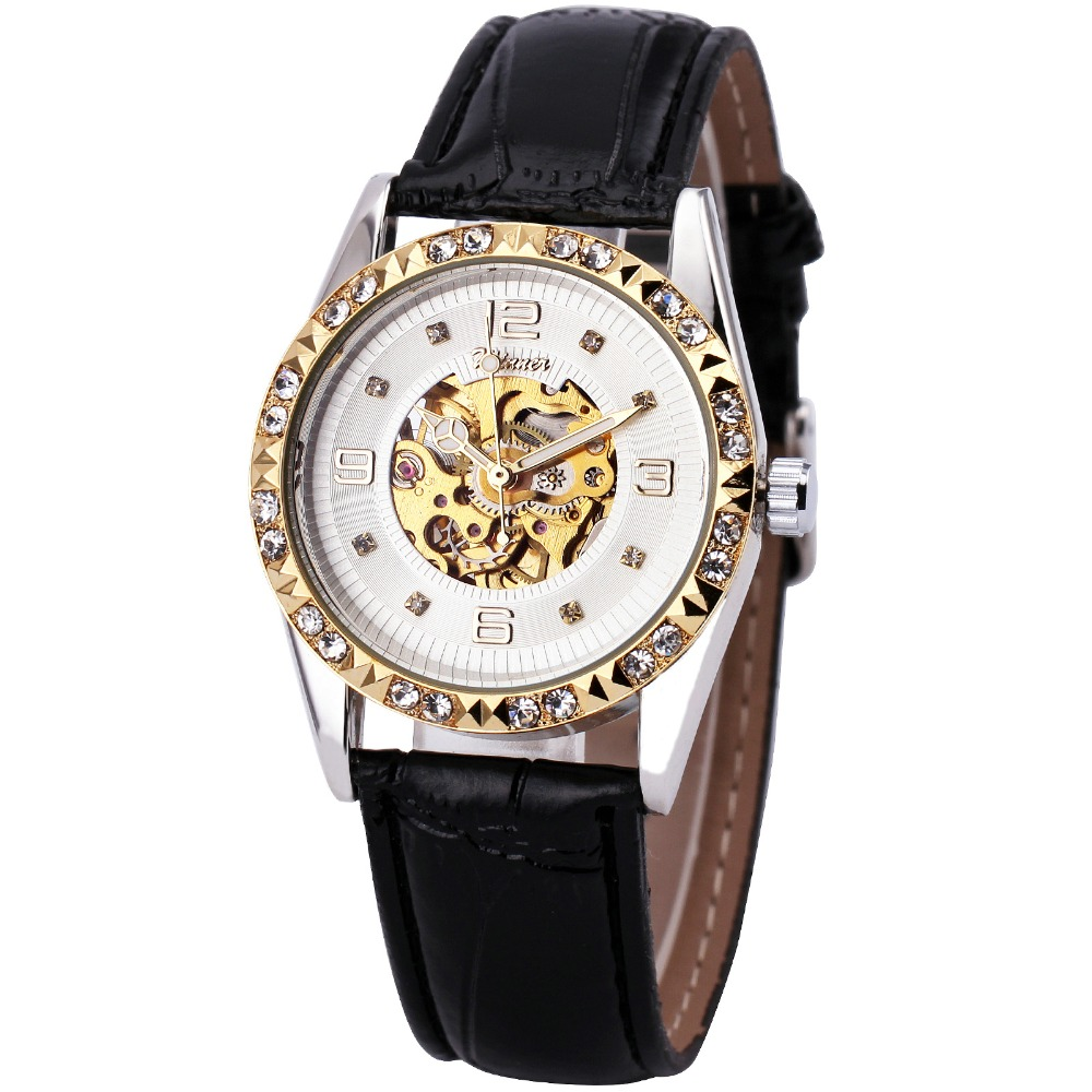 где купить 2017 T-WINNER  Women Luxury Auto Mechanical Wrist Watch Leather Strap Skeleton Dial Crystal Decoration Bezel Design + GIFT BOX по лучшей цене