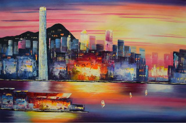Hong Kong Woonkamer : Handgeschilderde modern olieverfschilderij abstract hong kong stad