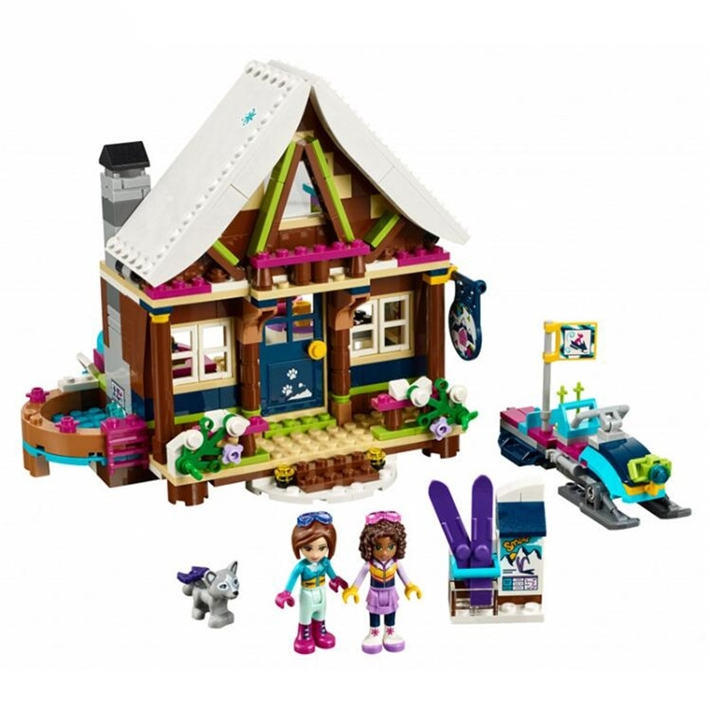 434pcs diy Girl Princess Snow Resort Chalet Model Building Blocks Brick Friend Compatible with playmobil Toys for children gifts