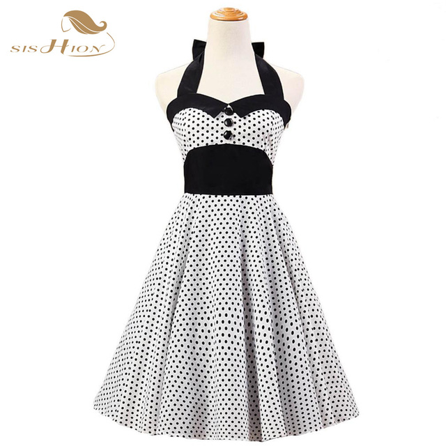 US $59.0  New 50s 60s Style Rockabilly Swing Dress Housewife Halter Polka  Dot Vintage Dress Plus Size White and Black Cotton VD0144-in Dresses from  ...