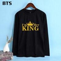BTS 킹 퀸 한국어 T 셔츠 여성 긴 소매 하라주쿠 패션 뜨거운 판매 캐주얼 편안한 탄성 재미 T 셔츠 플러스 크기