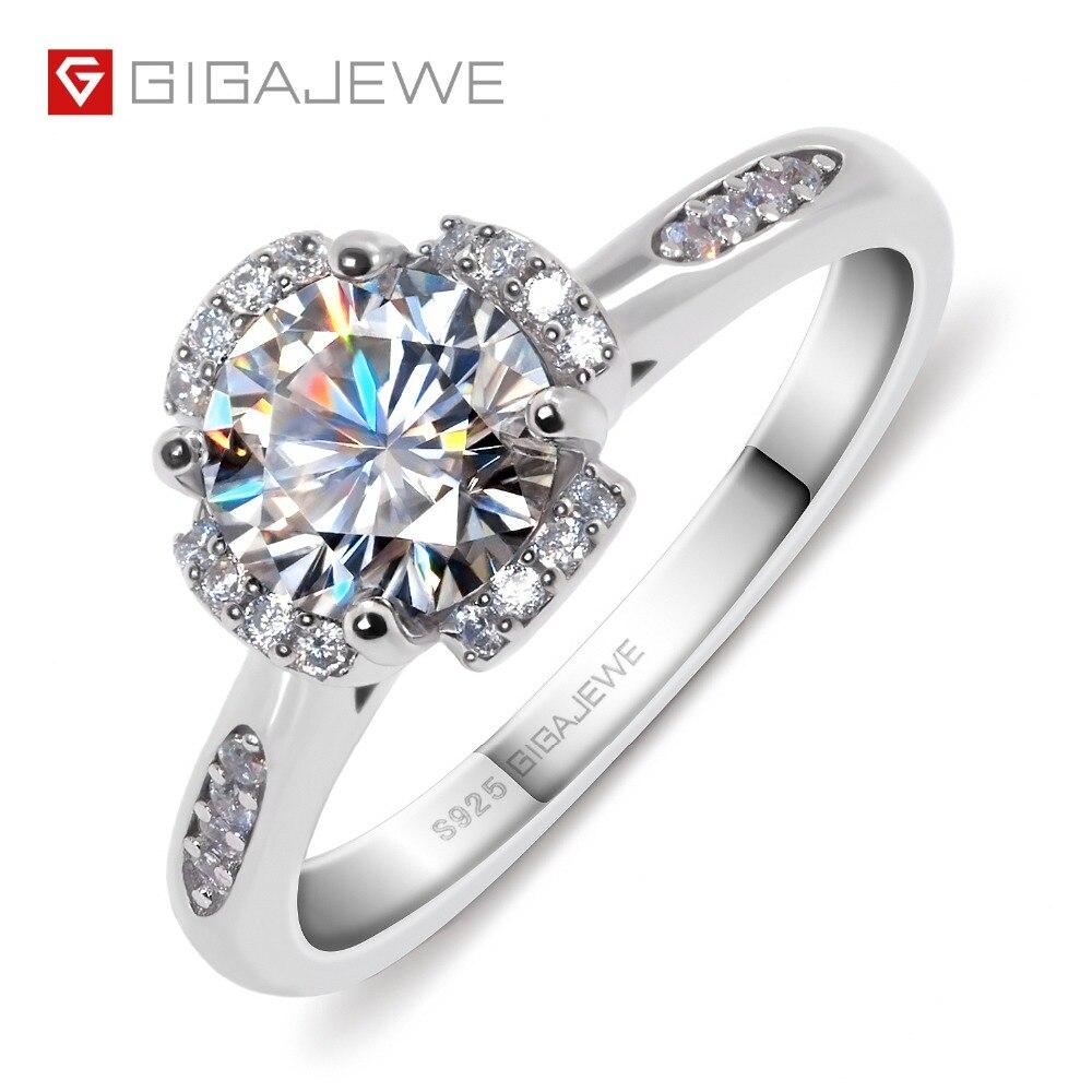 GIGAJEWE Moissanite pierścień 1.2ct VVS1 okrągły Cut F kolor Lab diament biżuteria ze srebra próby 925 symbol miłości kobieta dziewczyna zaloty prezent w Pierścionki od Biżuteria i akcesoria na  Grupa 1