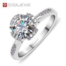 GIGAJEWE Moissanite pierścień 1.2ct VVS1 okrągły Cut F kolor Lab diament biżuteria ze srebra próby 925 żeton z motywem miłosnym kobieta dziewczyna zaloty prezent