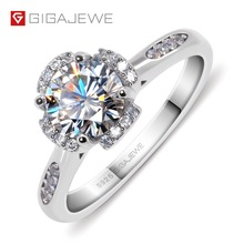 Gigajewe moissanite 링 1.2ct vvs1 라운드 컷 f 컬러 랩 다이아몬드 925 실버 쥬얼리 러브 토큰 여자 여자 친구 구애 선물