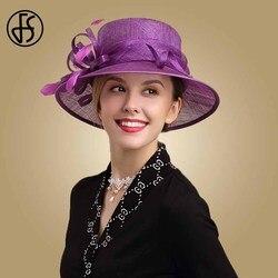 FS Fascinator chapeau violet Sinamay pour femme   Chapeaux pour église, large bord, Derby du Kentucky, chapeau de mariage fête de thé, chapeau plume