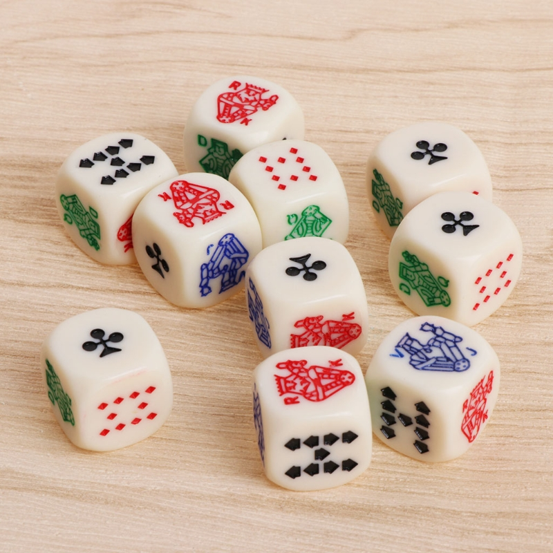 16mm Multicolor Acrylic Cube Dice Beads Six Sides Poker Dice For Casino Poker Card Game Favours Table Games Toy 10pcs