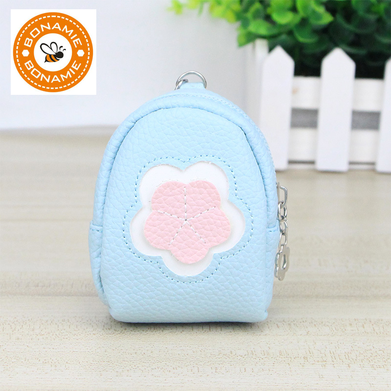 BONAMIE 2017 New Cute Women Key Chain Coin Purses Leather Mini Flower Coin Purse For Girls Kids Children Wallet Sac Enfant