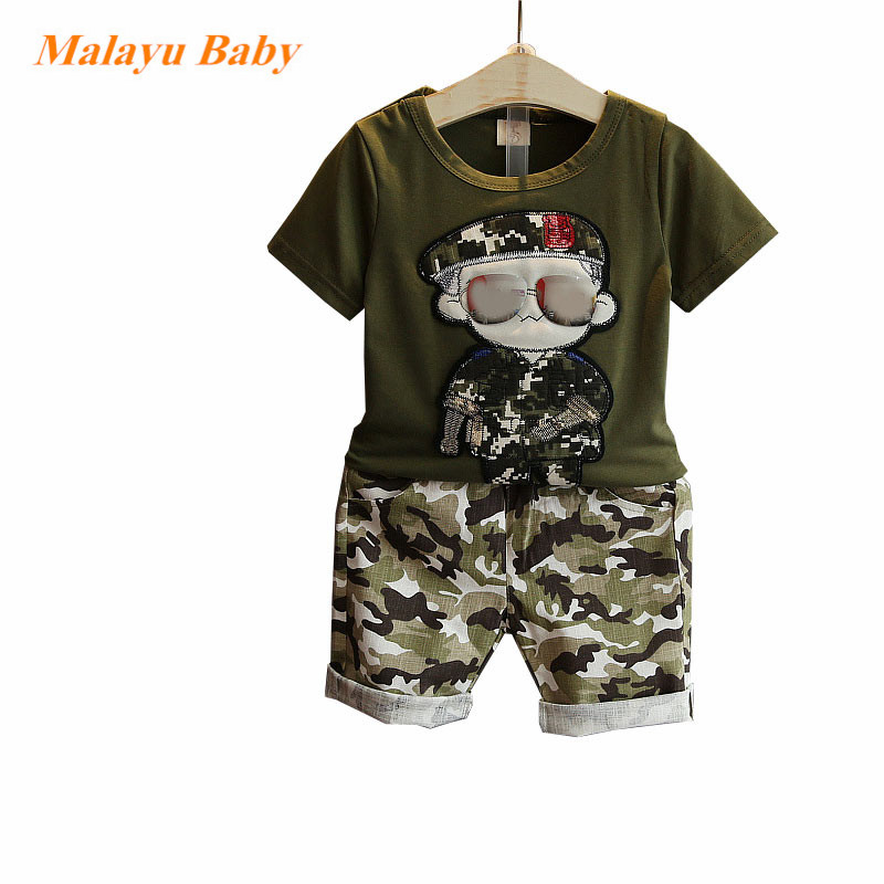 Summer Children Boy Clothes 2017 new Sets Kids 2pcs Short Sleeves T-Shirt Toddler Suits Camouflage Shorts Child Clothing Suits