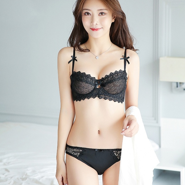 ef0411c083e Women Girls Seamless Breathable Lace Sexy Thin Lingerie Gather Bra Sexy  Lace Underwear Panties Set Bra