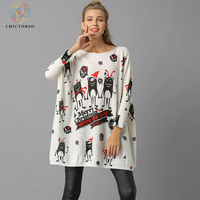 Chictorso W New Year Letter Print Women Christmas Sweater Dress Casual Slouchy Long Sweaters Pullover Girls Autumn Jumper