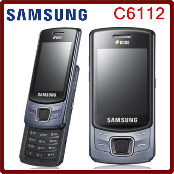 Цена за C6112 Оригинальный Разблокирована Samsung C6112 Dual SIM Карты Поддержка Русская Клавиатура Восстановленное Мобильного Телефона Бесплатная Доставка