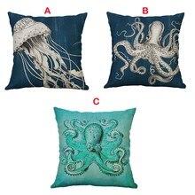 Marine Life Coral Sea Turtle Seahorse Whale Octopus Waist Cushion Cover Pillow Cover Throw Pillowcase Home Decor 40x40cm