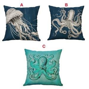Image 1 - Marine Life Coral Sea Turtle Seahorse Whale Octopus Waist Cushion Cover Pillow Cover Throw Pillowcase Home Decor 40x40cm