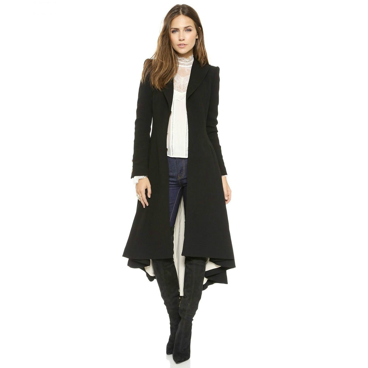 Autumn Winter Women Swallowtail Woolen Long Black Trench Dovetail Slim Blazer Dress 4XL 5XL Plus Size Goth Trench Outwear