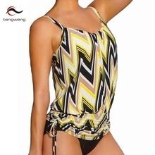 Tengweng 2017 Bikini Tankini set Women Bathing Suit Padded Brasil Sexy Swimming Suit Stripe Bottom Sport Swimwear Plus Size XL