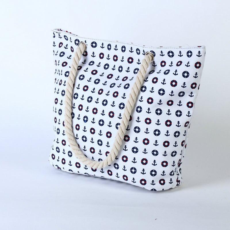 Rdywbu 2017 Summer Anchor Printed Canvas Handbag Women's Casual Big Rope Tote Travel Bag Luxury Designers Holiday Beach Bag B133 2