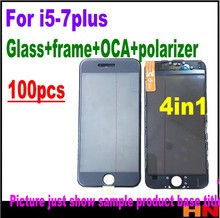 100pcs DHL Cold Press 4 in 1 Front Screen Glass Lens frame Polarizer OCA for iphone 7 7plus 6 6s 5 5s Touch Panel Replacement
