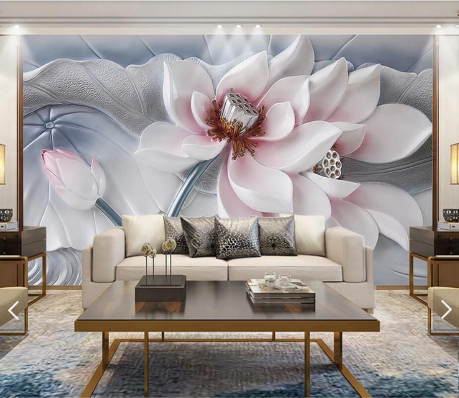 3D Embossed Flower Murals Large Print Wallpaper For Living