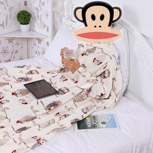 Image 4 - Dikke Fleece Gooi Deken Met Mouwen Volwassen Cozy Reizen Plaid Warm Pluche Winter Deken Voor Sofa Couette De Lit Adulte