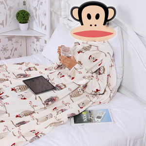 Image 4 - Thick Fleece Throw Blanket with Sleeves Adult Cozy Travel Plaid Warm Plush Winter Blanket For Sofa couette de lit adulte
