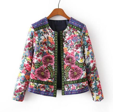 Новинка, осенне-зимняя женская верхняя одежда, винтажная женская короткая куртка с этническим цветочным принтом и вышивкой, тонкая парка, пальто, XQ1901 - Цвет: as picture