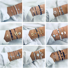 18 Style 4-5 pcs/Set Punk Turtle Map Heart Letter Love Crystal Beads Chain Multilayer Gold Bracelet Set Charm Girl Jewelry Gifts