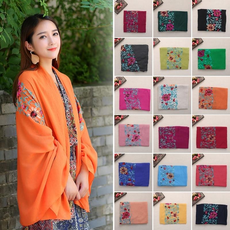 Vintage Women Large Embroidered Cotton Linen Floral   Scarf   Pashmina Shawl   Wrap     Scarves