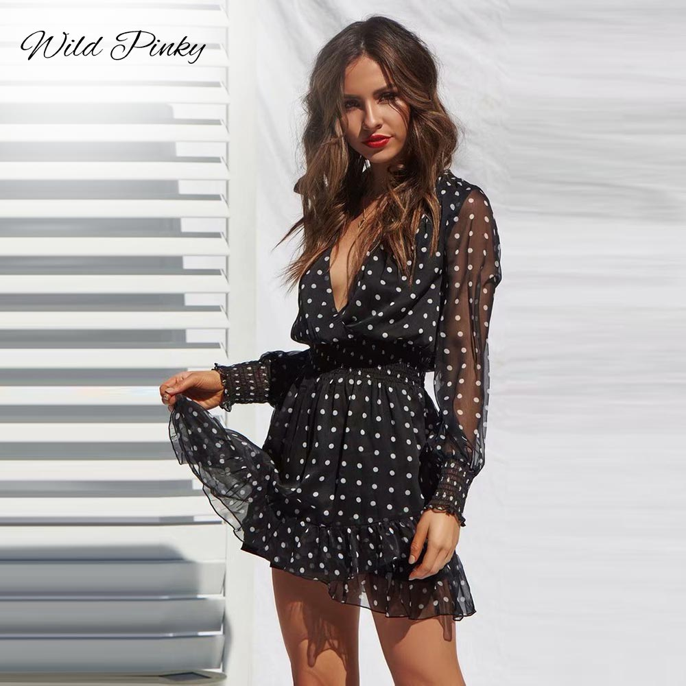 CUERLY Lace Mesh Long Sleeves Dress Black V Neck Polka Dot Dress Women 2019 Spring Casual Ruffles Sexy Short Dress Vestidos in Dresses from Women 39 s Clothing
