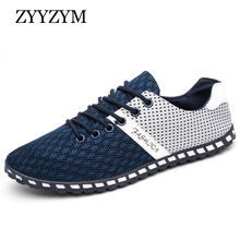 ZYYZYM Men Shoes Summer Breathable Air Mesh Shoes Men Lace-Up Style Men Casual Shoes Fashion Sneakers Footwear Large Size 38-46