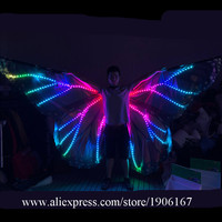 С подсветкой Красочные RGB ISIS крылья реквизит сцена светодиодные растущий крылья бабочки живота Танцы свет рождественский плащ