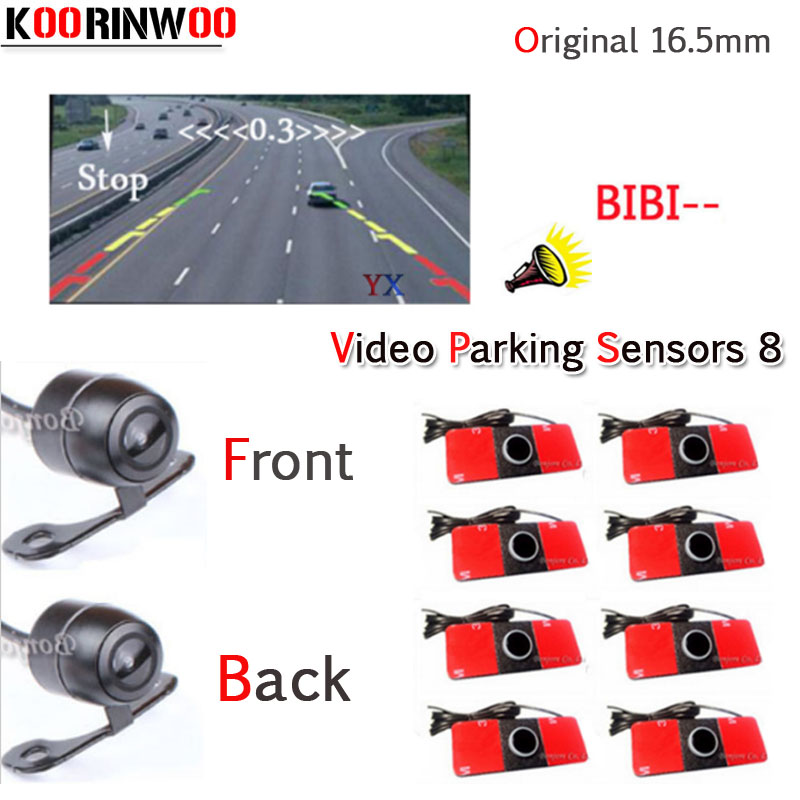 KOORINWOO Parktronic Car Parking System Alarm 8 Video Sensors Front Camera Car Rear view Camera Parking Blind sensor detector koorinwoo car parking sensors 8 redars video system auto parking system bibi alarm sound alarm parking assistance parktronic