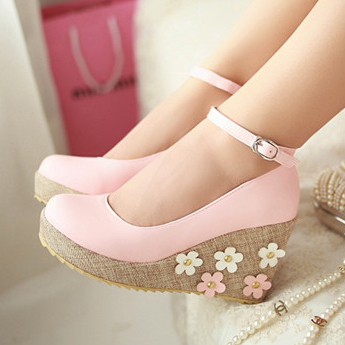 Sale Promotion Sweet Women's Pumps Fall Round Toe Ankle Strap Party Platform Wedges Female Flowers Sequined Beige Shoes H-0A