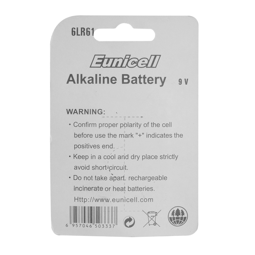 EUNICELL 1PCS Dry Battery 9V 6LR61 PPP3 1604A Alkaline Battery 6F22 Non rechargeable Batteries for Radio Camera Toys Dropshiping in Primary Dry Batteries from Consumer Electronics