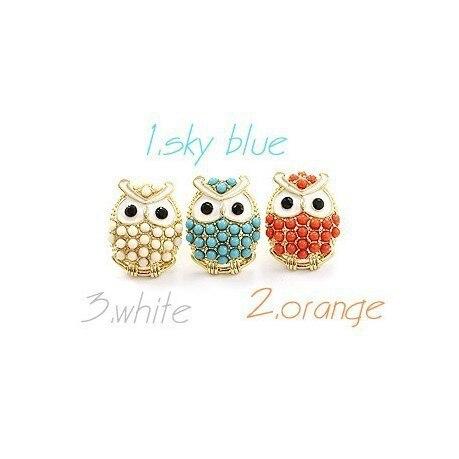 Cute Sky Blue White Orange Owl Earrings
