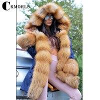 CKMORLS 2018 Новое поступление натуральным лисьим мехом парка одежда Для женщин пальто зима теплая длинная куртка Мода натуральный Лисий парка с