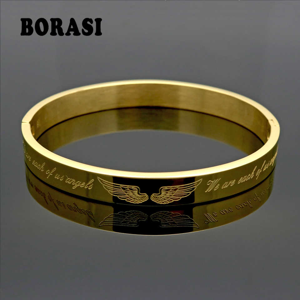 Luxury Angel Wings Style Gold Color Stainless Steel Jewelry Women/Men Jewelry Trendy couples Bracelets & Bangles Gift