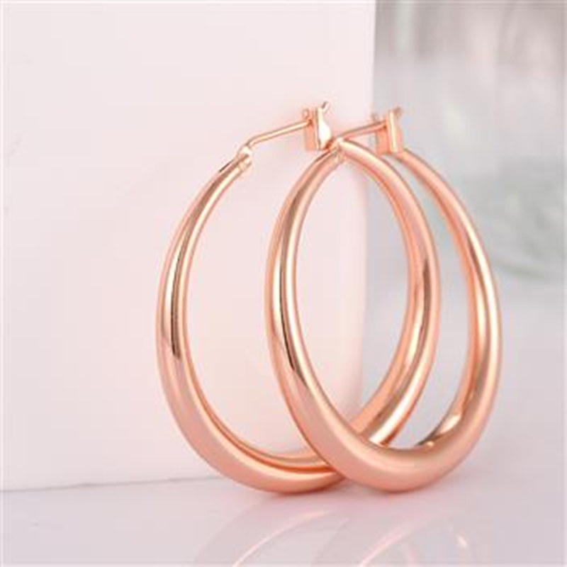 18k  gold plated hoop earrings rose yellow gold hoop earrings for women  big loop hoop earrings circle earring fashion Jewelry