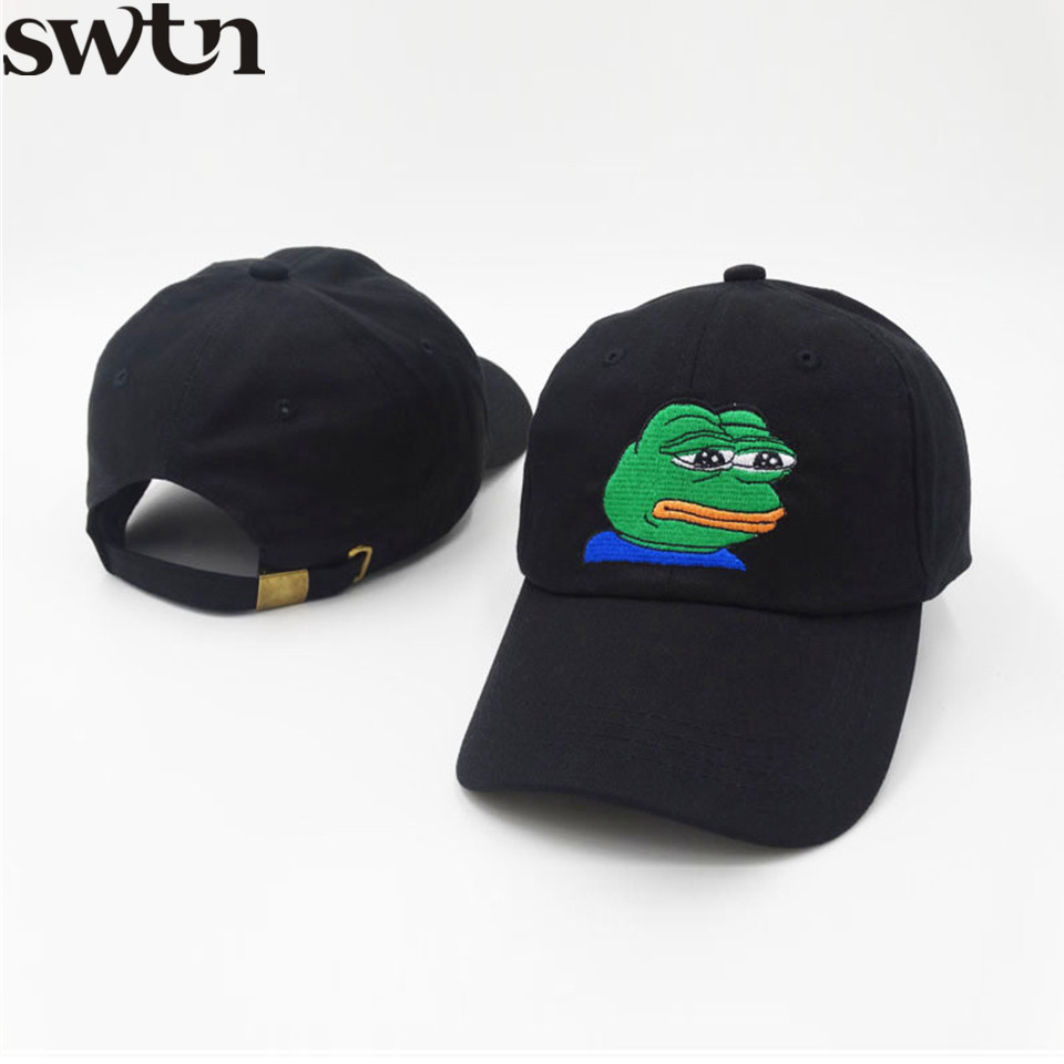 SWTN 2017 FROG Embroidery Baseball Cap Men Hat Solid Color Cotton Women Black Men Snapback adjustable Hat mutsen mannen K pop hat 2016 men women strapback snapback baseball cap adjustable hat black white pink color one size