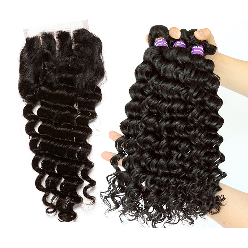 Deep Wave Bundles With Closure 3 4 Brazilian Hair Weave Bundles With Closure Human Virgin Hair Extension Rosa Queen Products