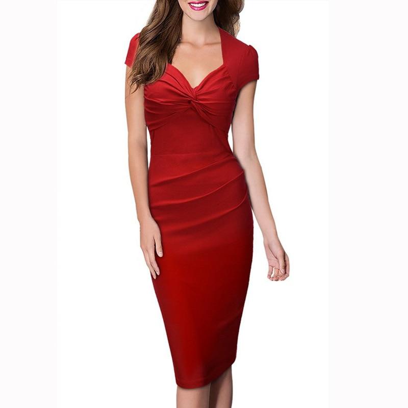 84cb3313f6 FD3171 Lady Short Puff Sleeve Pencil Dress Vestidos Robe Solid color V neck  Pleated Slim Hip