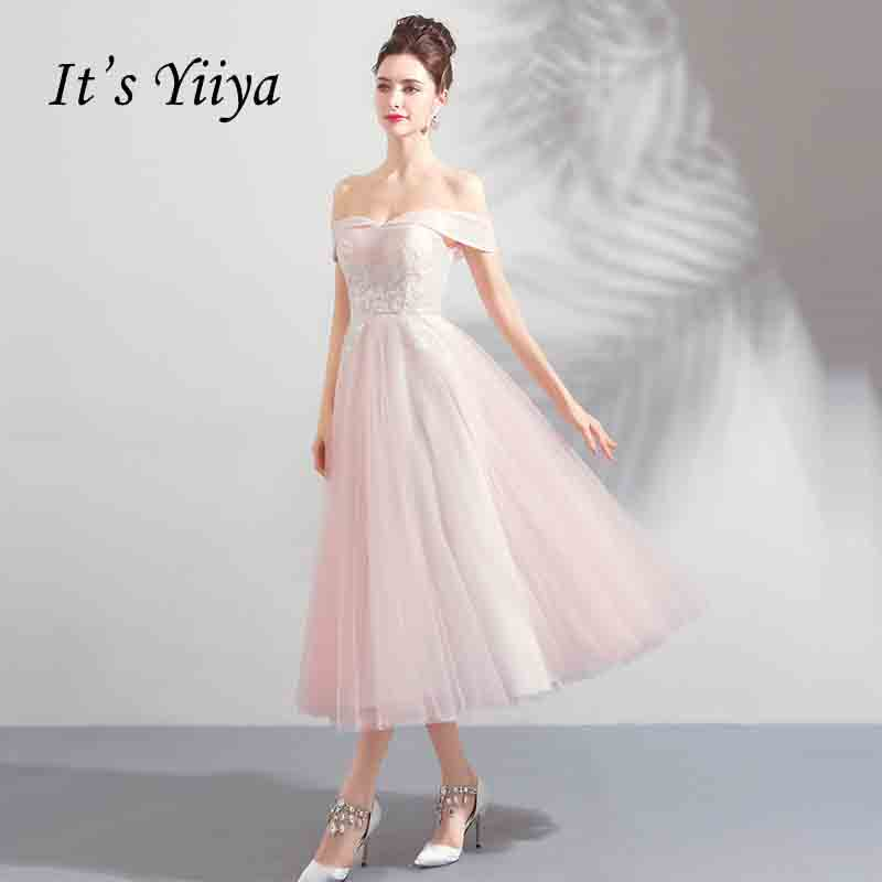 It's YiiYa Off Collar Backless Flower Tea-Length Tulle   Prom   Gown Elegant Simple Lace Up Luxury   Prom     Dresses   Dancing Party LX784