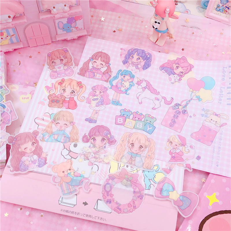 40pc/pack Girls DIY Sticker Sealed Creative Notebook Stickers Decal