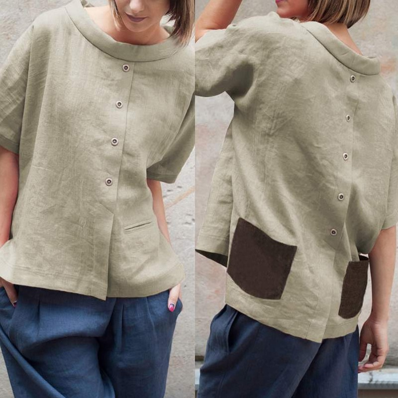 Vintage Cotton Blouse Tops Summer Women Oversized Blouses Short Sleeve Buttons Casual Shirt Pockets Patchwork Loose Blusas