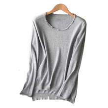 цена на Women Ripped Grey Sweaters Cashmere 2019 Autumn Winter O Neck Slit Wool Knitted Sweaters Pullover Jersey jumper pull femme hiver