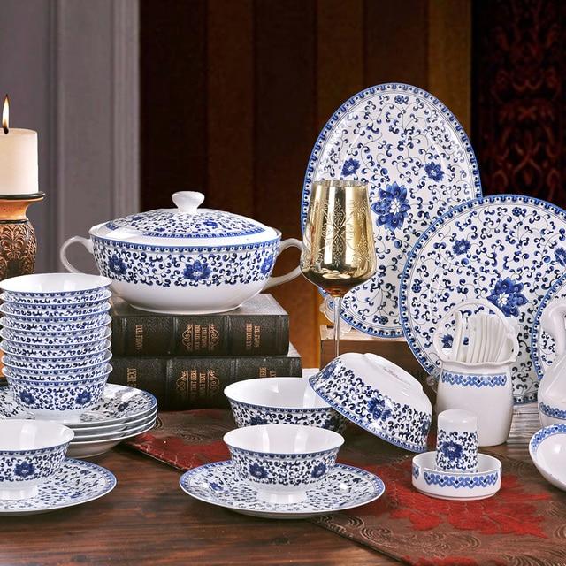 Good quality Ceramic plates dishes set blue and white color bone china tableware sets Korean minimalist & Good quality Ceramic plates dishes set blue and white color bone ...